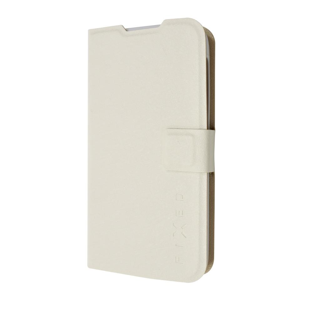 Pouzdro typu kniha FIXED s gelovou vaničkou pro Lenovo A328, bílé