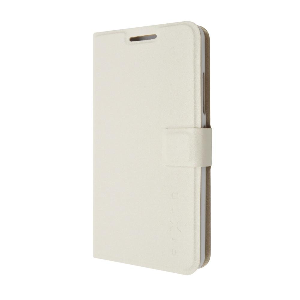Pouzdro typu kniha FIXED s gelovou vaničkou pro Lenovo A5000, bílé