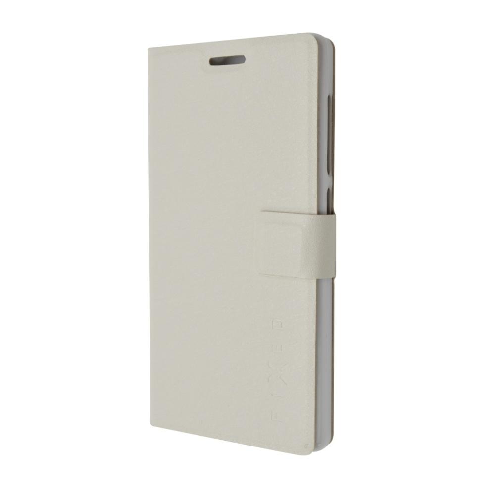 Pouzdro typu kniha FIXED s gelovou vaničkou pro Lenovo A7010 / A7010 Pro, bílé