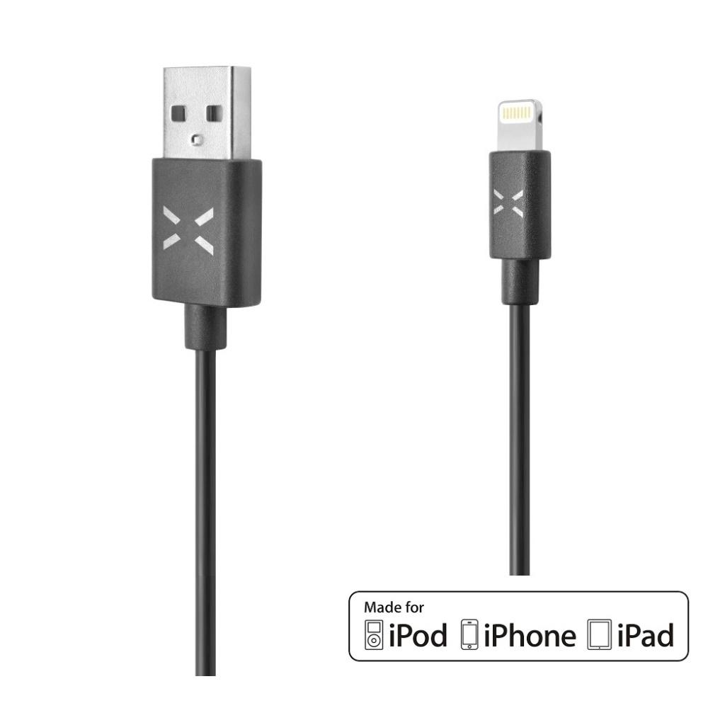 USB datový kabel FIXED s konektorem Lightning, MFI licence, 1m, černý