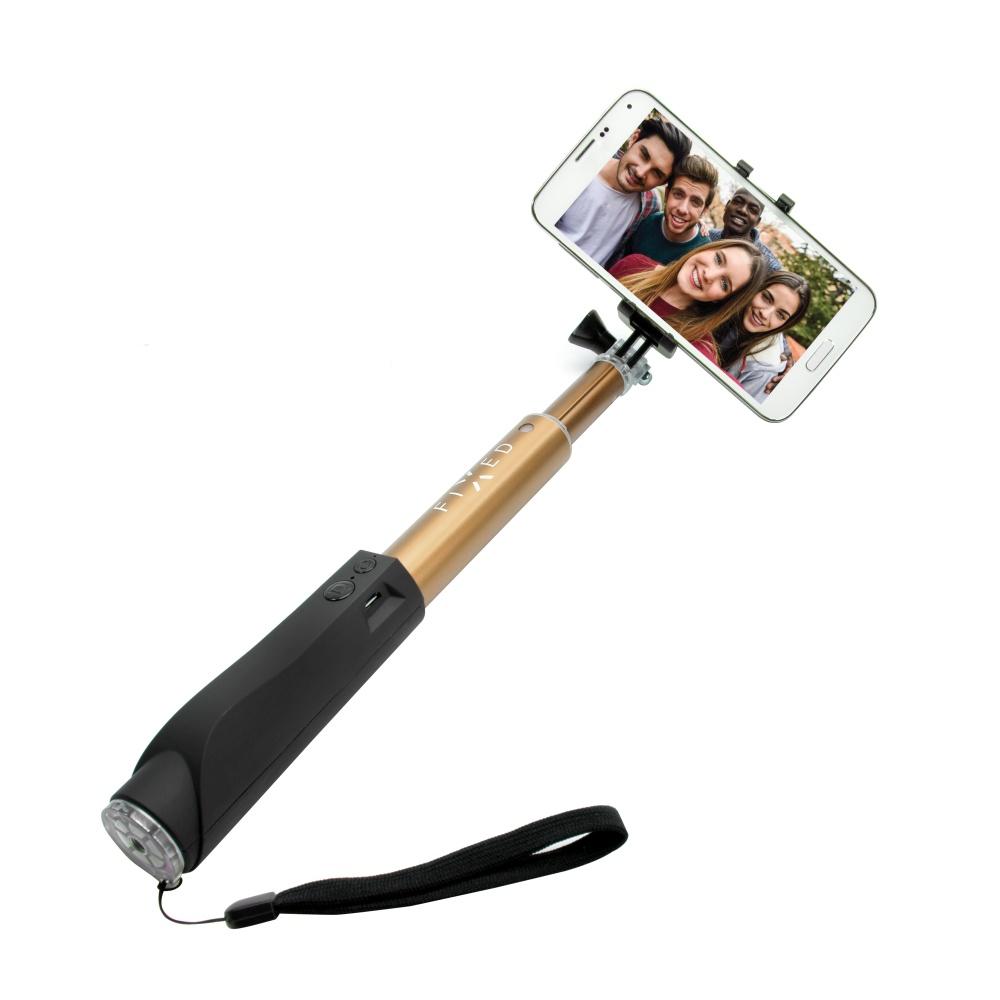 Teleskopický selfie stick FIXED v luxusním hliníkovém provedení s BT spouští, zlatý