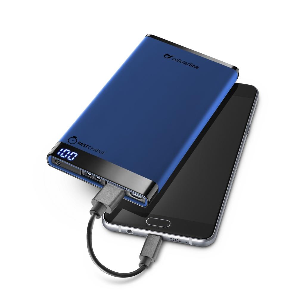 Prémiová powerbanka CellularLine FREEPOWER MANTA, 6000mAh, modrá