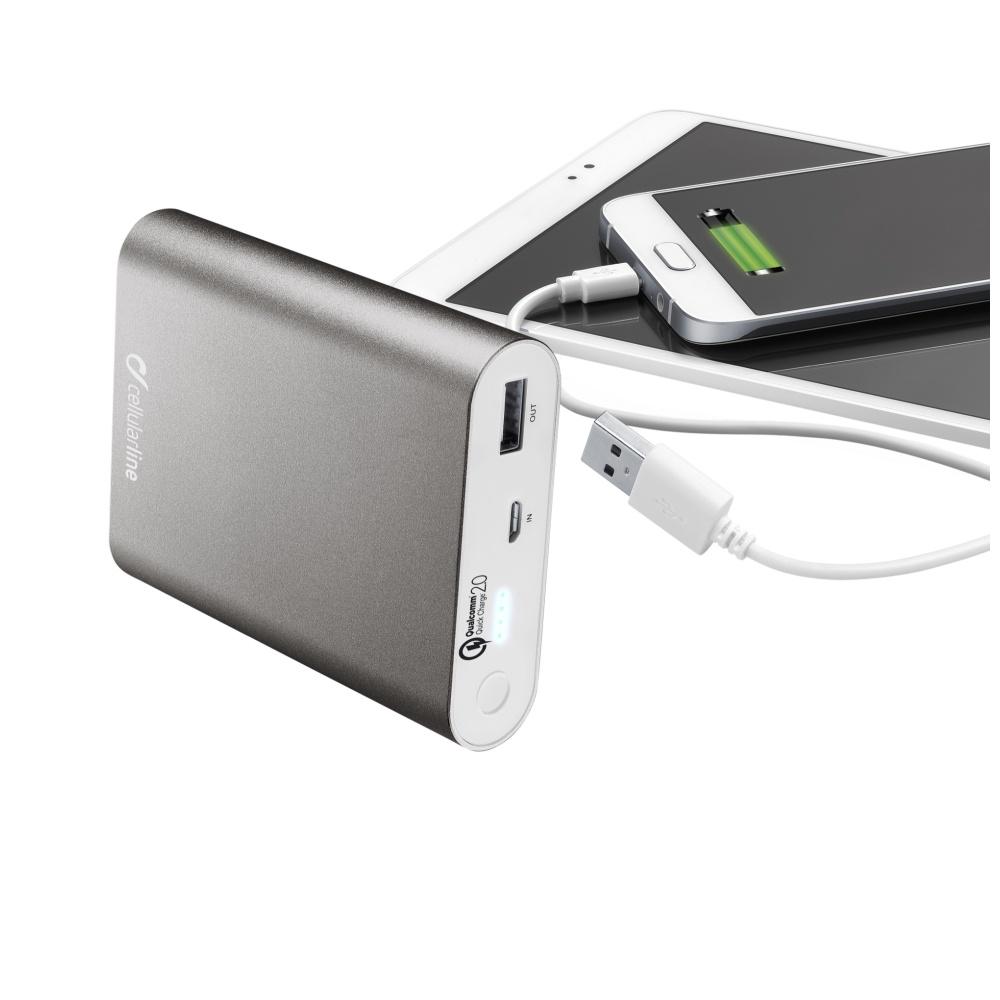 Powerbanka CellularLine FREEPOWER QUALCOMM, 10000mAh, Qualcomm Quick Charge 2.0, bílá