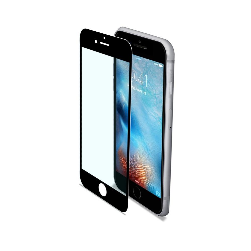 Ochranné tvrzené sklo CELLY Glass pro Apple iPhone 7/8, černé (sklo do hran displeje, anti blue-ray)