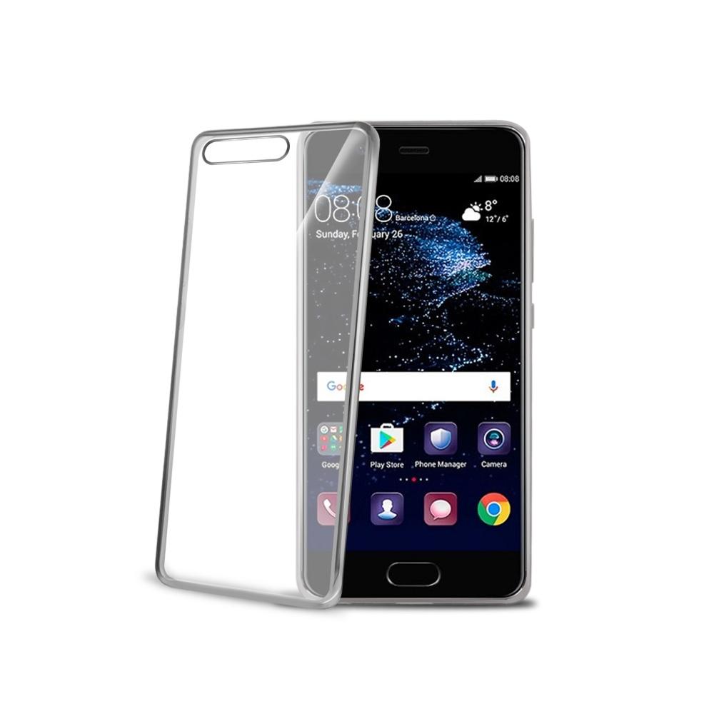 TPU pouzdro CELLY Laser - lemování s kovovým efektem pro Huawei P10, stříbrné