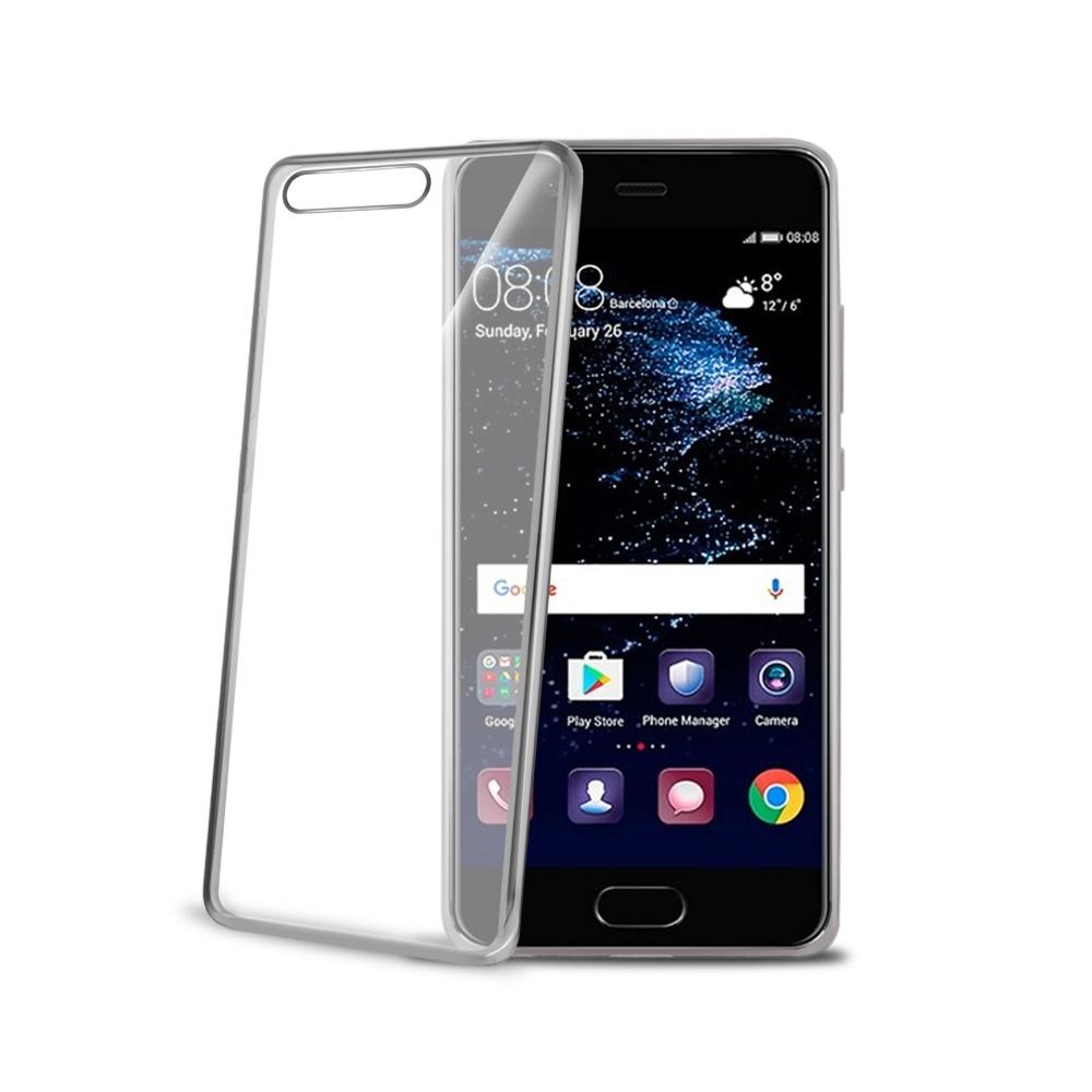 TPU pouzdro CELLY Laser - lemování s kovovým efektem pro Huawei P10 Plus, stříbrné