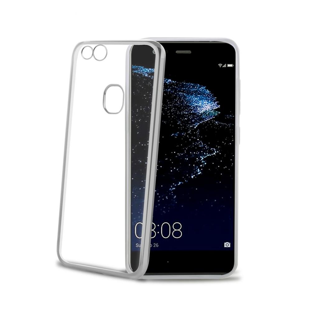 TPU pouzdro CELLY Laser - lemování s kovovým efektem pro Huawei P10 Lite, stříbrné