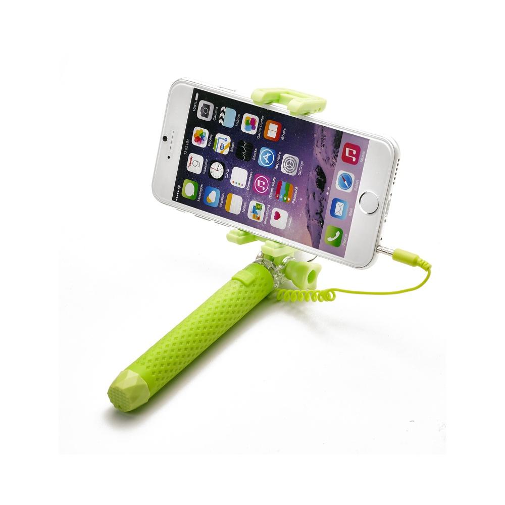 Selfie stick CELLY Mini selfie, spoušť přes 3.5mm jack, kompaktní rozměry, zelená