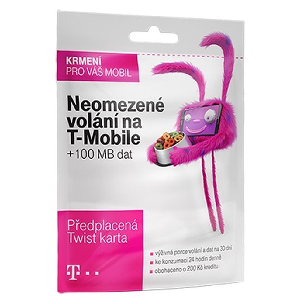 Předplacená SIM karta T-Mobile Twist s kreditem 200,- Kč, Neomezené volání na T-Mobile + 100 MB dat