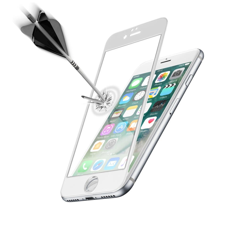 Ochranné tvrzené sklo pro celý displej Cellularline CAPSULE pro Apple iPhone 7/8, bílé