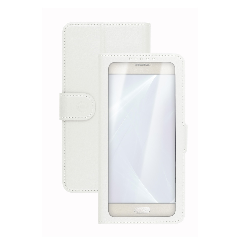 "Pouzdro typu kniha CELLY View Unica, velikost XL, 4.5"" - 5"", bílé"