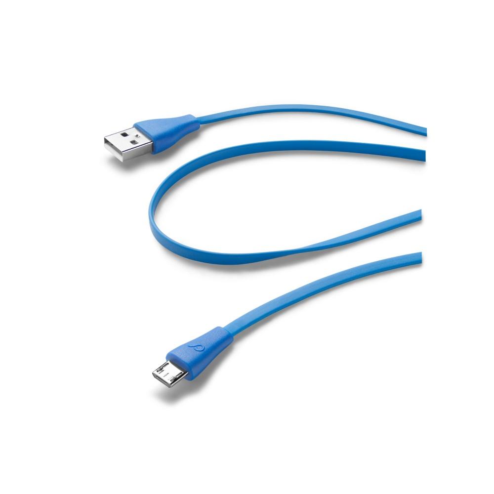 Plochý USB datový kabel CellularLine s konektorem microUSB, modrý