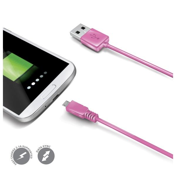 Datový USB kabel CELLY s konektorem microUSB, růžový