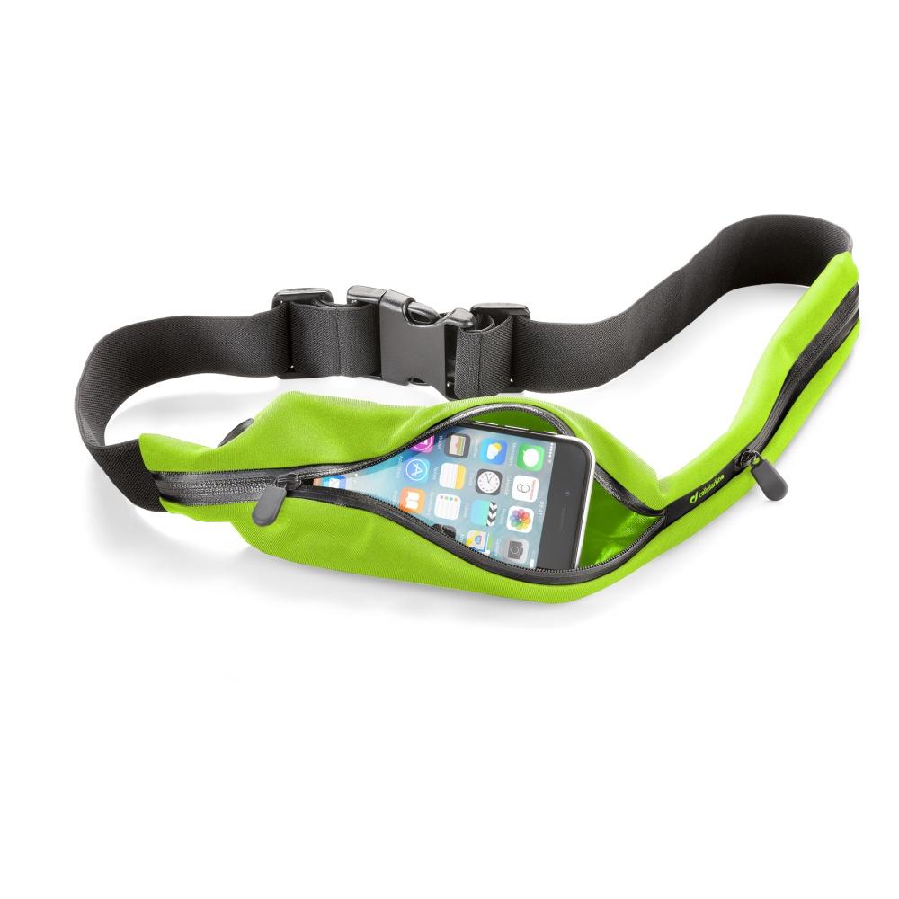 Sportovní pouzdro CellularLine WAISTBAND RUNNING s kapsou na příslušenství, univerzální velikost, limetková