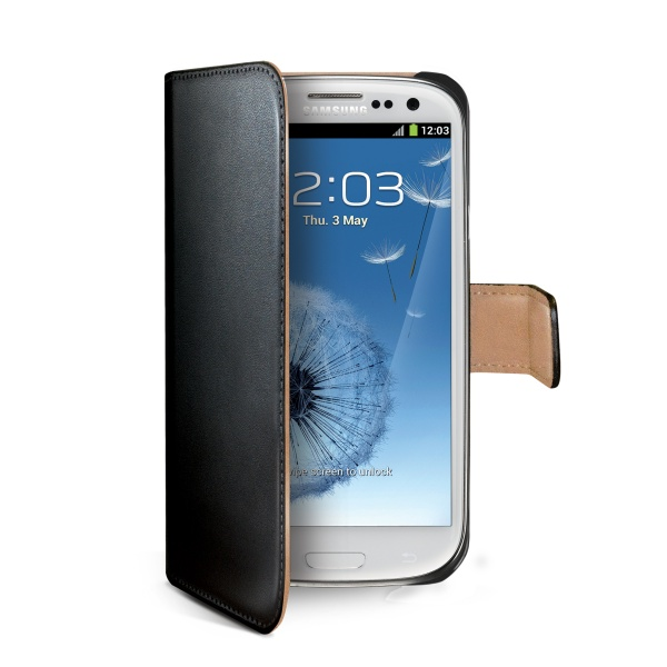 Pouzdro typu kniha CELLY Wally pro Samsung Galaxy S III / S3 Neo, PU kůže, černé