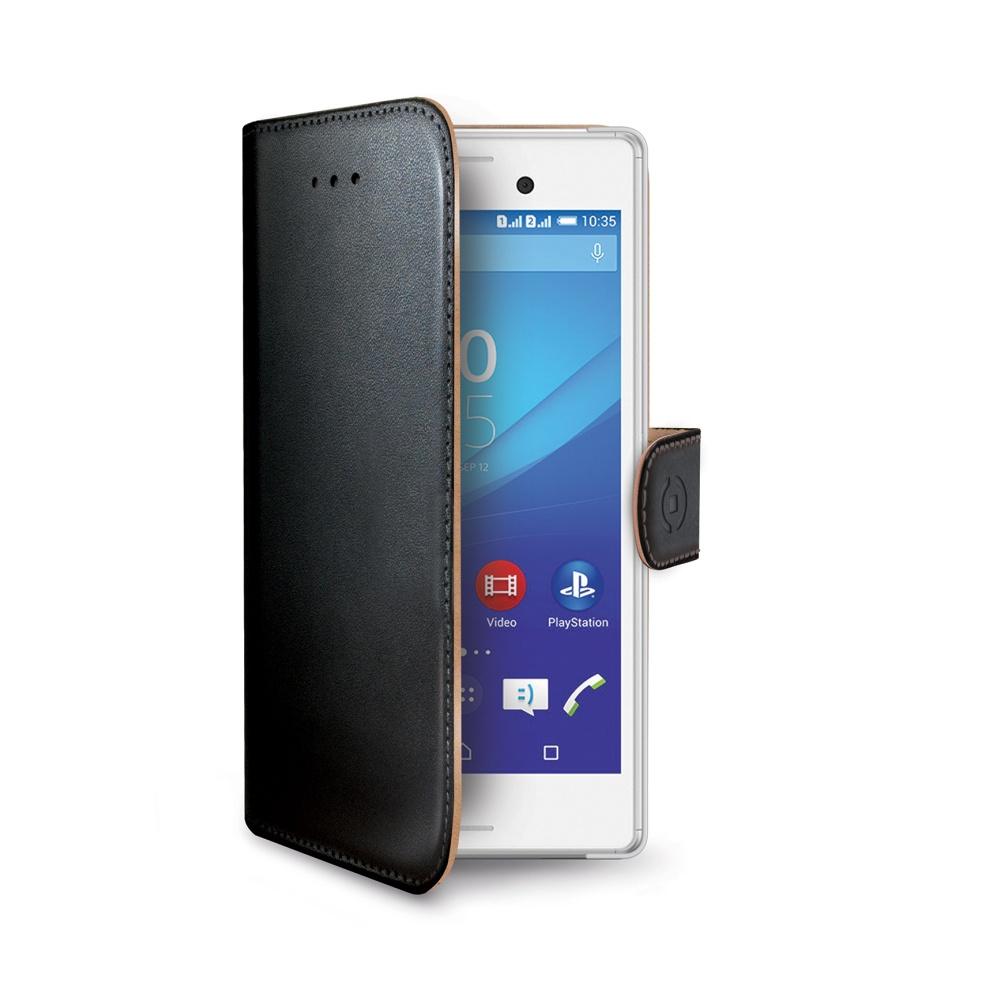Pouzdro typu kniha CELLY Wally pro Sony Xperia M4 Aqua, PU kůže, černé