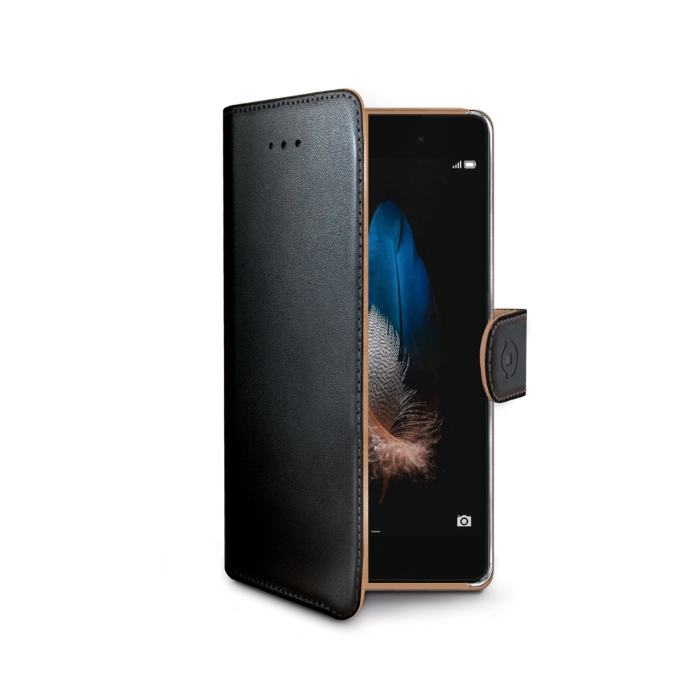Pouzdro typu kniha CELLY Wally pro Huawei P8 Lite, PU kůže, černé