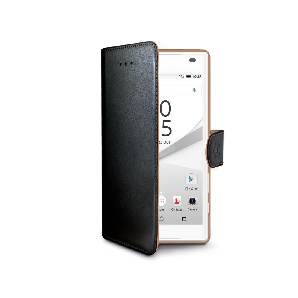 Pouzdro typu kniha CELLY Wally pro Sony Xperia Z5 Compact, PU kůže, černé
