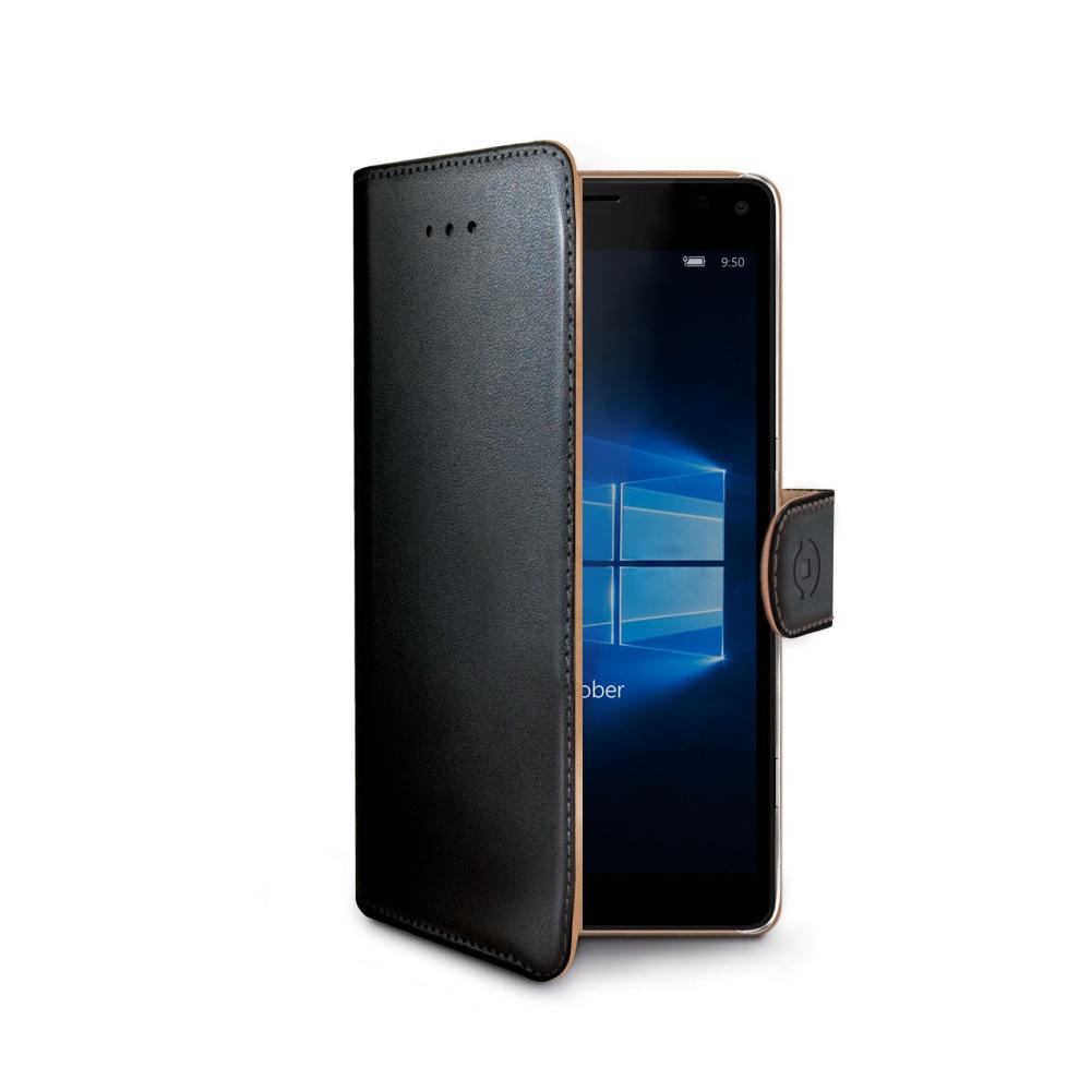 Pouzdro typu kniha CELLY Wally pro Microsoft Lumia 950, PU kůže, černé