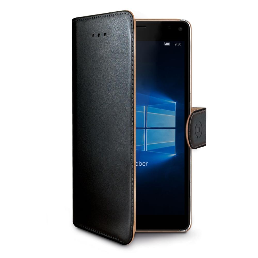 Pouzdro typu kniha CELLY Wally pro Microsoft Lumia 950 XL, PU kůže, černé