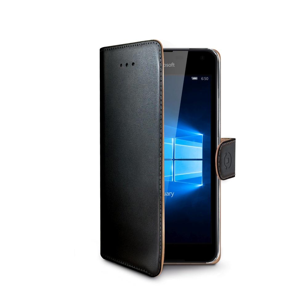 Pouzdro typu kniha CELLY Wally pro Microsoft Lumia 650, PU kůže, černé