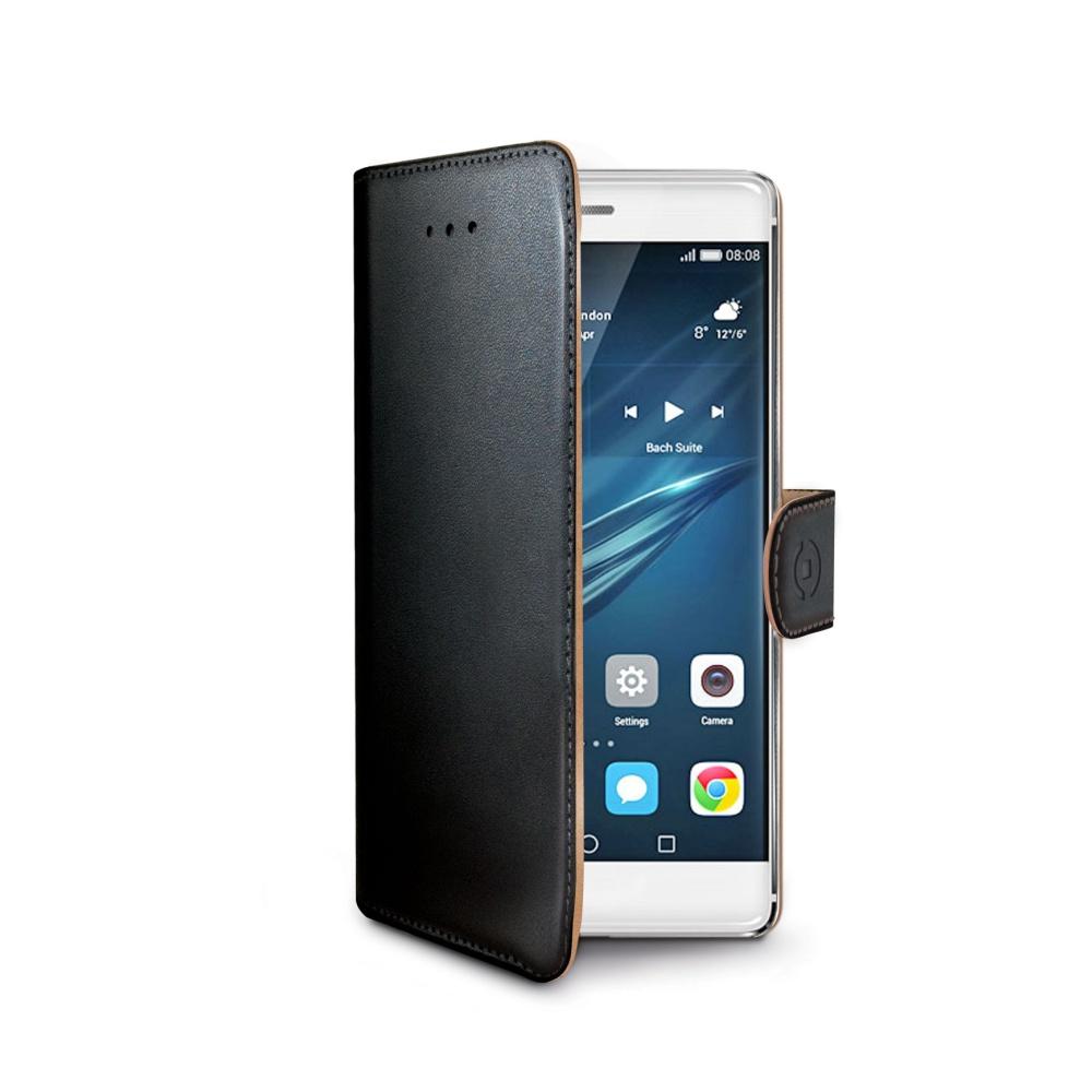 Pouzdro typu kniha CELLY Wally pro Huawei P9, PU kůže, černé