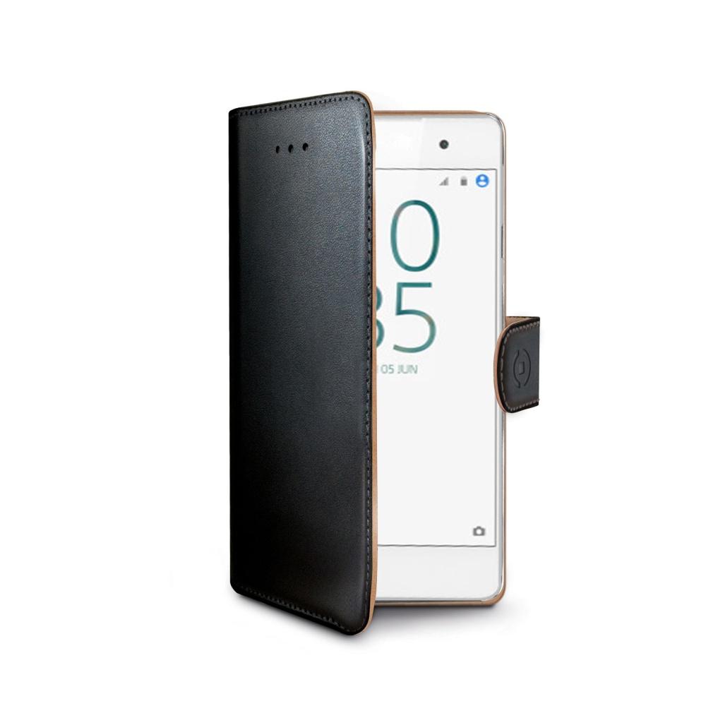 Pouzdro typu kniha CELLY Wally pro Sony Xperia E5, PU kůže, černé