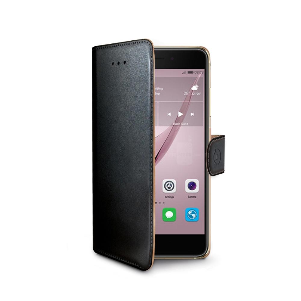 Pouzdro typu kniha CELLY Wally pro Huawei Nova, PU kůže, černé