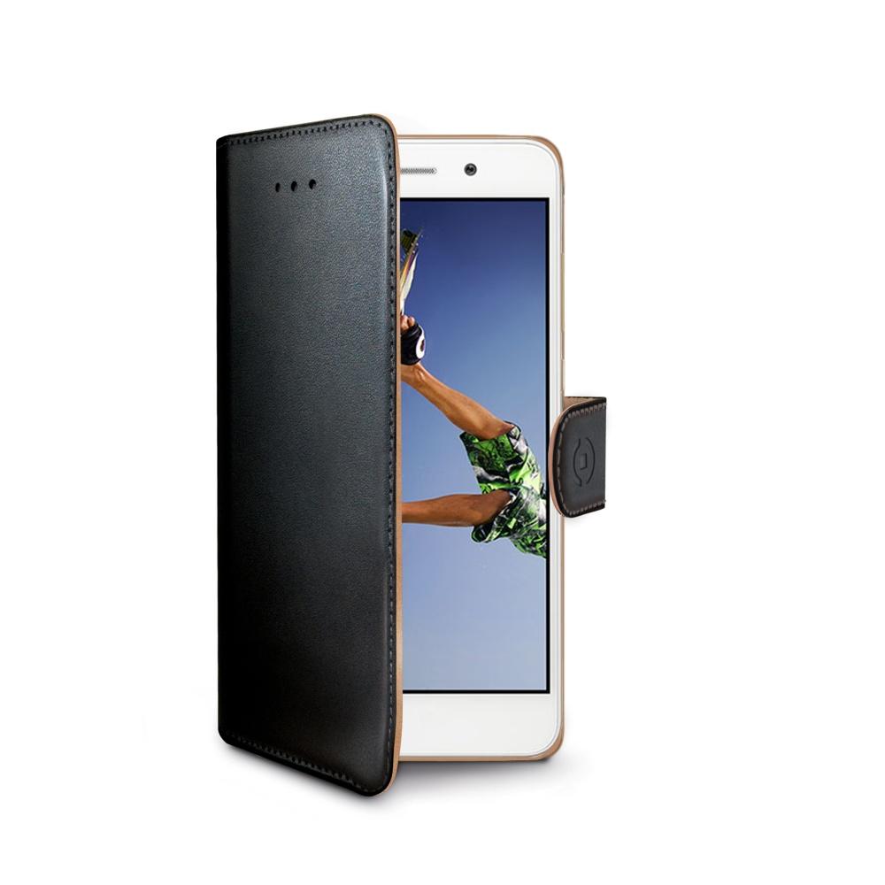 Pouzdro typu kniha CELLY Wally pro Huawei Y6 II/Honor 5A, PU kůže, černé