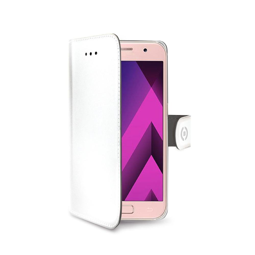 Pouzdro typu kniha CELLY Wally pro Samsung Galaxy A3 (2017), PU kůže, bílé