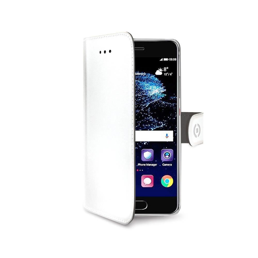 Pouzdro typu kniha CELLY Wally pro Huawei P10 Plus, PU kůže, bílé