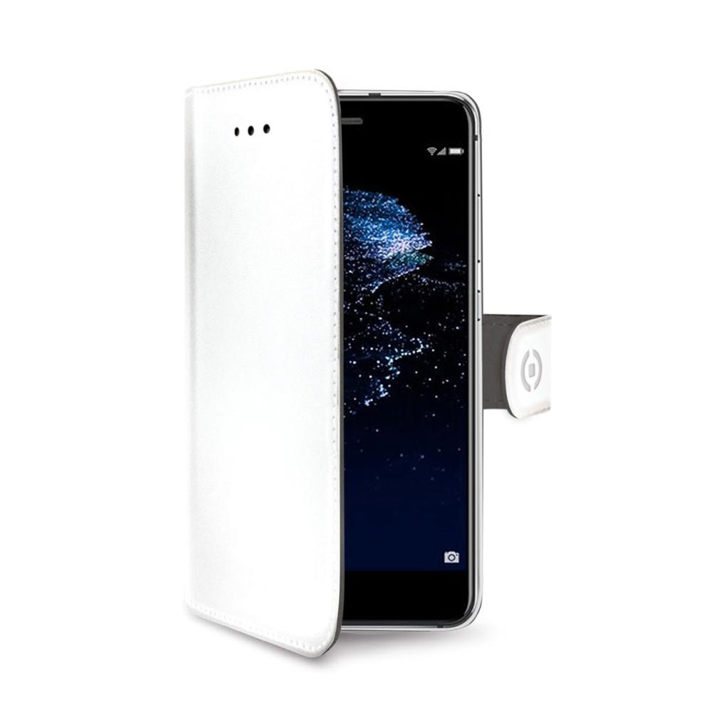Pouzdro typu kniha CELLY Wally pro Huawei P10 Lite, PU kůže, bílé